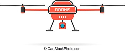 red quadrocopter with shadow. concept of uav, rotorcraft,...