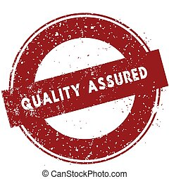 Red QUALITY ASSURED rubber stamp illustration on white background