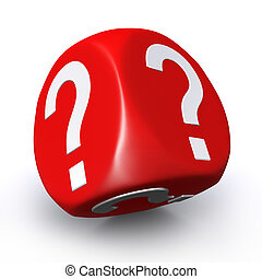 Red question mark dice