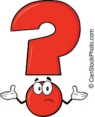 Red Question Mark Cartoon Character With A Confused...