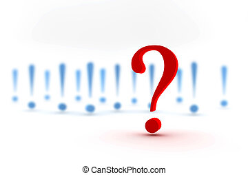 Red question mark in front of many blue exclamation marks