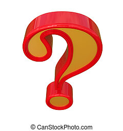 Red question mark. Isolated on white background.