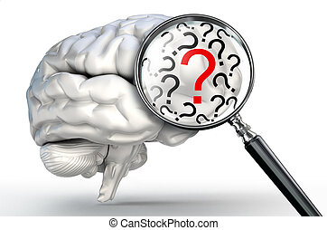 red question mark on magnifying glass and human brain on...