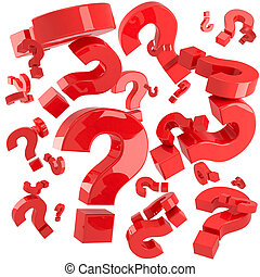 A lot of red question marks isolated on the white background