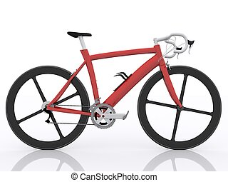 red race bike on white background