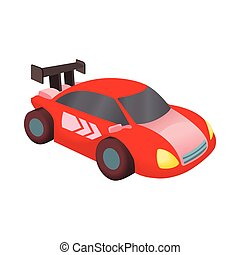 Red race car icon, cartoon style