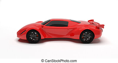 Red race car isolated. Own design.