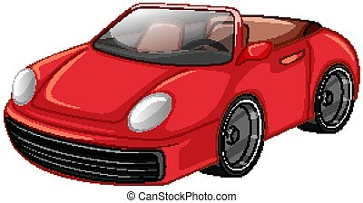 Red racing car on white background