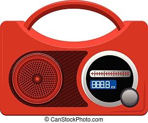 Red radio icon, cartoon style
