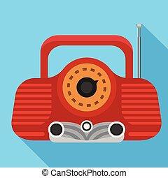 Red radio icon, flat style