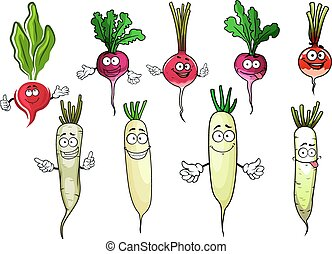 Red radish and white daikon vegetables - Juicy cartoon red...