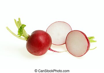 Red radish bulbs one cut in half, on white background.