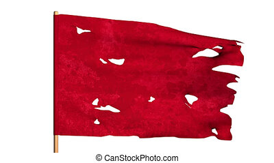 Red ragged frayed waving flag. 3D render looped video with...