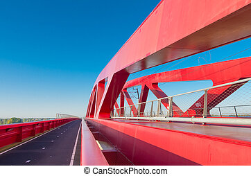 red railroad bridge - bicycle lane along the new red...