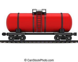 Red railroad tank