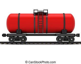 Red railroad tank