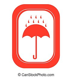 red rain with umbrella emblem icon