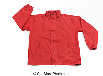 Red Raincoat on White Background