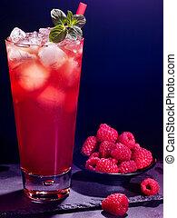 Red raspberry cocktail on dark background 6.