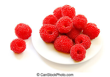 raspberry on white plate