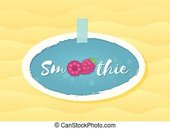 Red raspberry smoothie drink sticker illustration