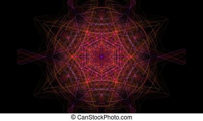 Red rays fractal in tunnel motion, rotating beams bundle in center, sci-fi video background