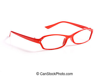 Red Reading Glasses - A pair of red reading glasses on white...