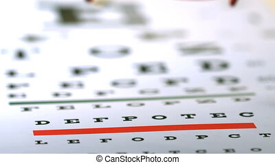 Red reading glasses falling on eye test in slow motion