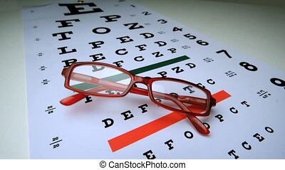 Red reading glasses falling onto an eye test in slow motion