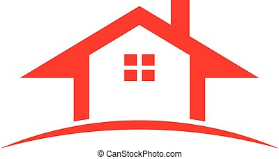 Red Real Estate house. Vector graphic illustration