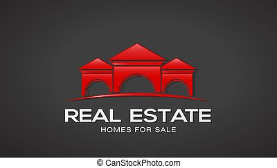 Red Real Estate Houses Logo. Vector Design
