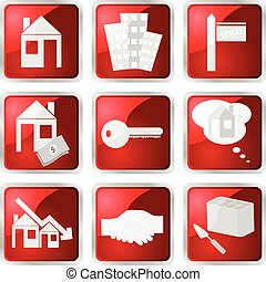 Red real estate icon set