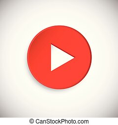 Red realistic 3d Play button on white background with shadow