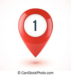 Red realistic 3D vector glossy map point symbol. Part of...