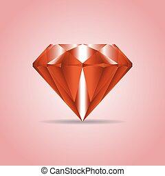 Red realistic diamond, jewelry, gemstone with shadow