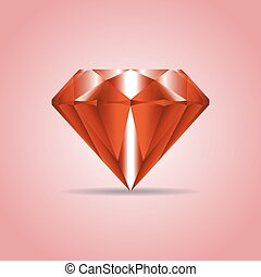 Red realistic diamond, jewelry, gemstone with shadow