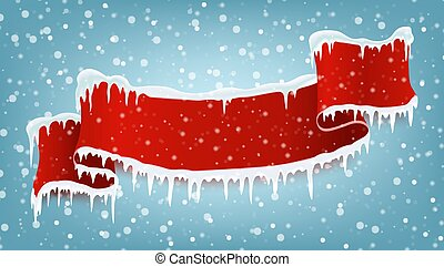 Red realistic ribbo with winter icicles and falling snow. space for text Christmas banner. Vector illustration