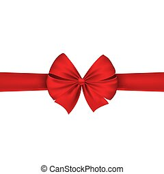 Red realistic ribbon on holiday isolated on white background. Beautiful festive bow. Vector