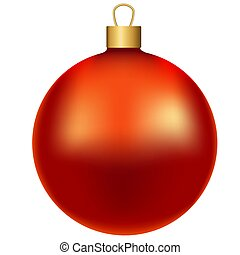 Red realistic shiny christmas ball, isolated on white background, vector illustration