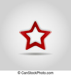 Red realistic star on gray background. Web icon, sign. Vector illustration.