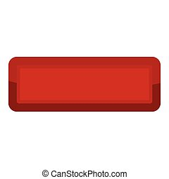 Red rectangle button icon, cartoon style