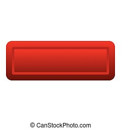 Red rectangle button icon, flat style