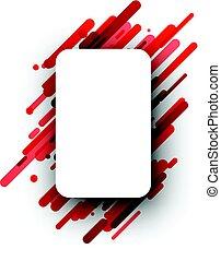 Red rectangular background on white.