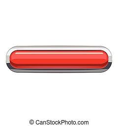 Red rectangular button icon, cartoon style