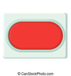 Red rectangular button icon, cartoon style