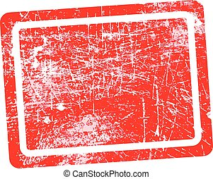 red rectangular grunge stamp with blank in the middle isolated on white background