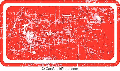 red rectangular grunge stamp with blank siolated on white background.