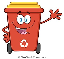 Red Recycle Bin Waving For Greeting