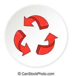 Red recycling symbol icon, cartoon style