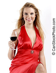 Red red wine - Picture of girl drinking red wine